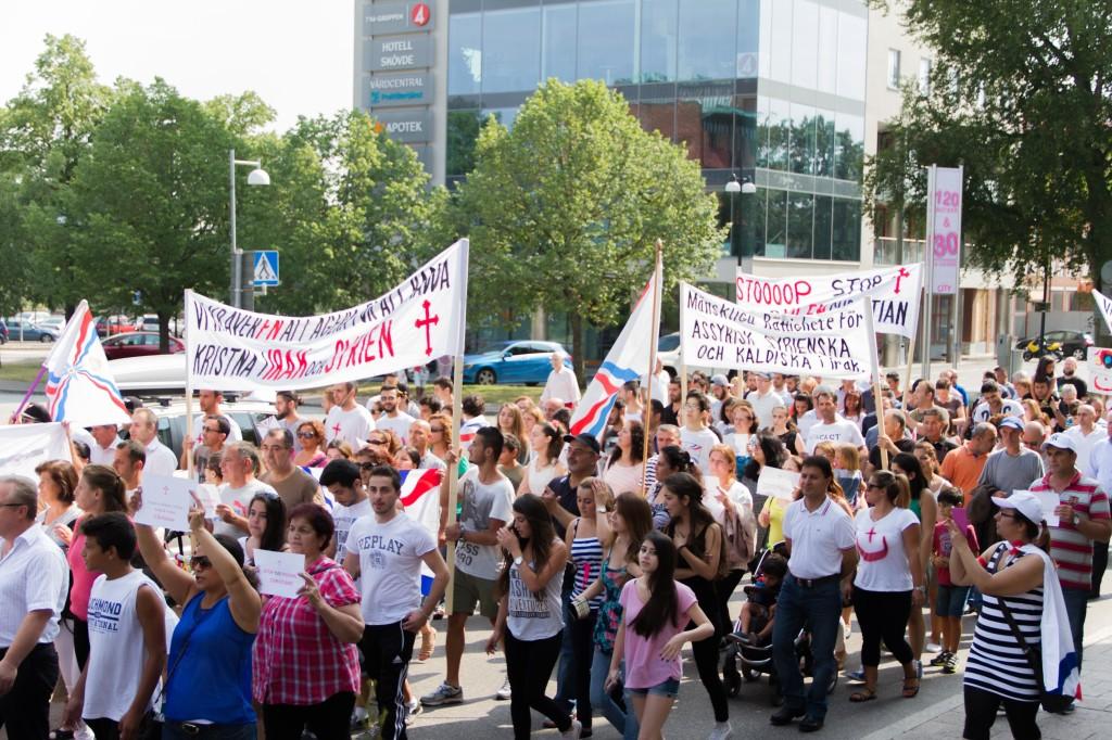 Manifestation i Skövde 3 augusti. (Foto: Jacob Mako)