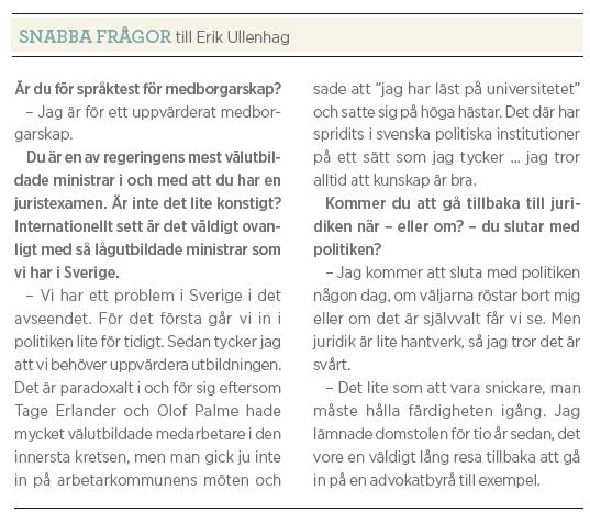 Erik Ullenhag Rinkeby torg intervju Paulina Neuding Neo nr 5 2011 kortfrågor