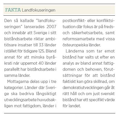 Gunilla Carlsson bistånd Fredrik Segerfeldt Mattias Svensson intervju Neo nr 3 2011 fakta Landfokuseringen