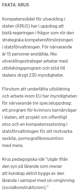 Lisa Magnusson Missionärerna på byxmyndigheten KRUS Neo nr 2 2011 fakta