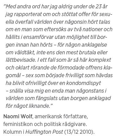 Mårten Schultz Våldtäkt är ingen gummiparagraf Julian Assange Neo nr 2 2011 Naomi Wolf