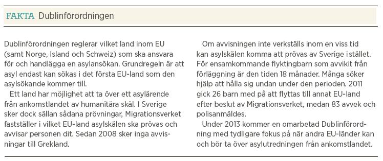 Mattias Svensson Världen utanför papperslösa reva flyktinggömmare Dublin Neo nr 1 2013 fakta Dublinförordningen