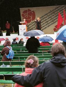 Socialdemokraterna saknar rockförebilden Bruce Springsteens stjärnglans och taktkänsla. Foto: Drago Prvulovic / Scanpix