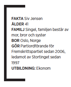 Siv Jensen Fremskrittspartiet Johan Ingerö intervju Neo nr 5 2010 fakta