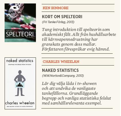Patrik Strömer recension Ken Binmore Kort om spelteori Charles Wheelan Naked statistics Neo nr 4 2013 kort