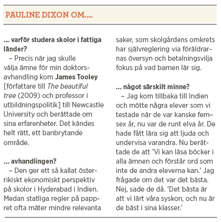 Pauline Dixon interview private schools for the poor privatskolor för fattiga barn Mattias Svensson Neo nr 1 2014 James Tooley The beautiful tree