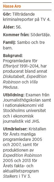 Hasse Aro Efterlyst TV3 brott kriminalitet brottsoffer Leif GW Persson Robert Aschberg TV4 polis Maria Abrahamsson Neo nr 2 2014 bakgrund