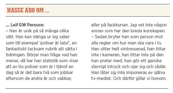 Hasse Aro Efterlyst TV3 brott kriminalitet brottsoffer Leif GW Persson Robert Aschberg TV4 polis Maria Abrahamsson Neo nr 2 2014