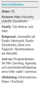 Anna Hedenmo SVT Agenda Paulina Neuding åsiktskorridoren invandring medieelit twitter Neo nr 2 2014 bakgrund