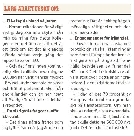 Lars Adaktusson intervju Paulina Neuding Neo nr 2 2014 EU parlamentsval  om...