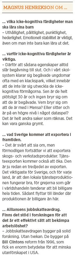 Magnus Henrekson välfärd vinst skola klassresa invandring integration Neo nr 4 2014 om...