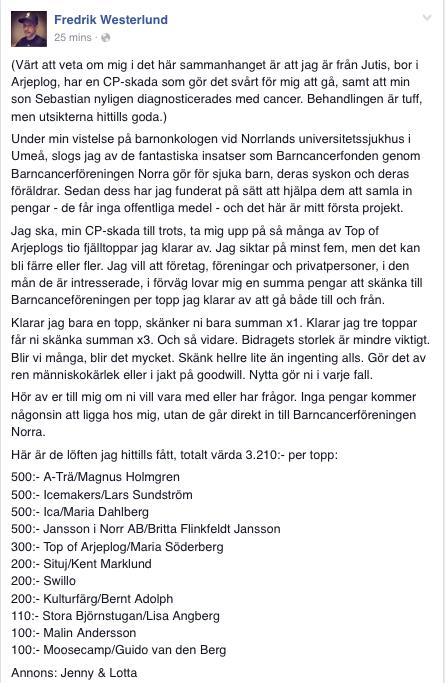 Fredrik Westerlund Facebook Barncancerfonden fjälltoppar