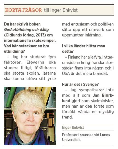 Inger Enkvist skola utbildning vänstern meritokrati Alva Myrdal Stellan Arvidsson Tage Erlander Neo nr 3 2014  presentation