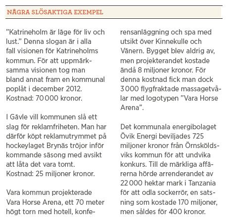 Martin Borgs Någon annan betalar 365 sätt att slösa med dina skattepengar Hydra  Neo nr 4 2014 slöseriexempel