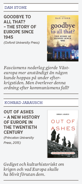 Patrik Strömer recension Dan Stone Goodbye to all that? Konrad Jarausch Out of ashes Europa Hitler stalin Kennedy Berlinmuren kommunism Sovjet 1989 Viktor Orban Ungern Neo nr 4 2015