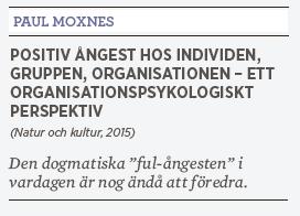 Linda Skugge recension Paul Moxnes Positiv ångest hos individen, gruppen, organisationen dogmatikern Neo nr 4 2015