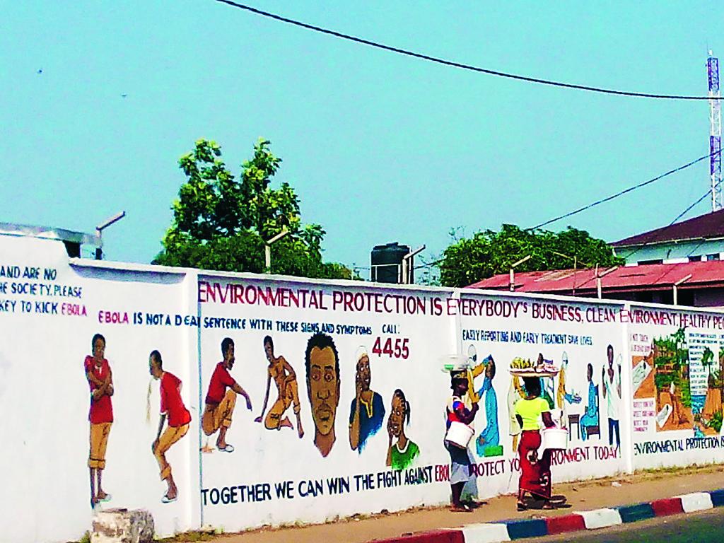 Informationskampanj mot ebola i Monrovia, Liberias huvudstad.