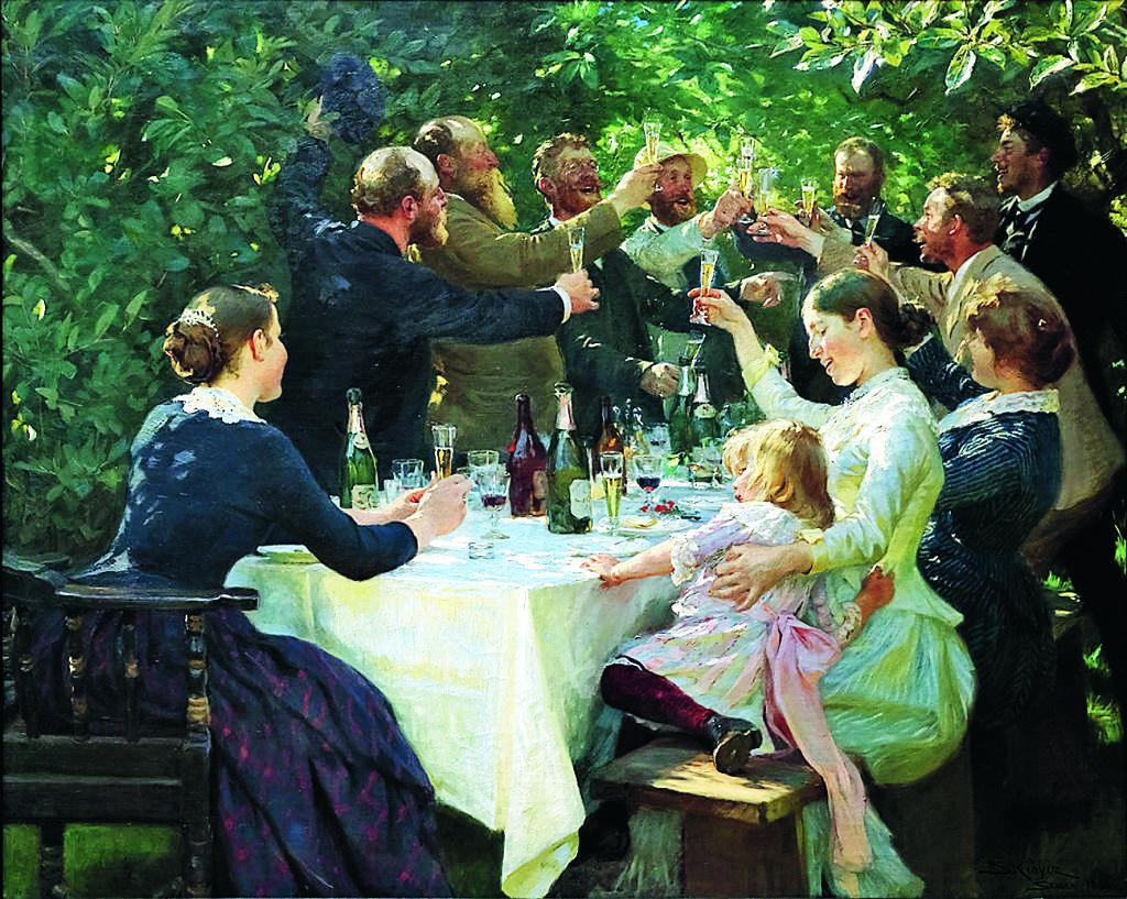 Kring ett dukat bord i en trädgård om sommaren har en grupp konstnärer ur konstnärskolonin i Skagen samlats för en frukost. De höjer sina glas och skålar, kanske för livet, konsten och vänskapen.  Oljemålning av Peder Severin Kröyer.