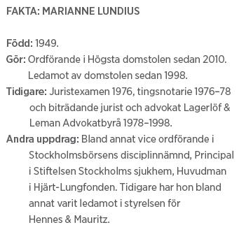 Marianne Lundius intervju Andreas Ericson Paulina Neuding Högsta domstolen Neo nr 2 2011 fakta ML