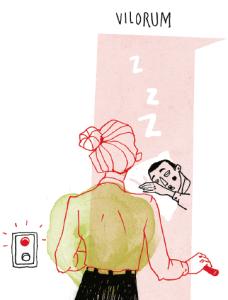 – En kollega fick en tjänst vid [ett regionalt universitet]. Ibland blev han trött och ville använda det vilrum han visste fanns. Varenda gång han var där lyste det rött. Alltid. När han frågade visade det sig att där låg studierektorn större delen av dagarna. – I ett privat företag hade man ju försökt avskeda en sådan person, men här hade den övriga personalen delat arbetsuppgifterna mellan sig och förberedde en nyrekrytering. Illustratör: Kristin Lidström