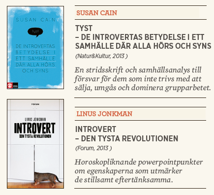 Susan Cain Tyst Linus Jonkman Introvert recension Patrik Strömer Neo nr 6 2013 kort