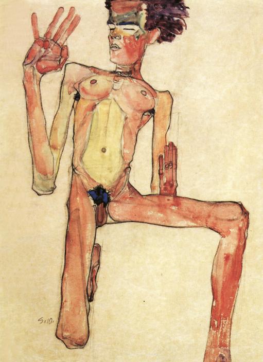 """Bild: Egon Schiele  """"Kniender Akt, Selbstporträt"""""""