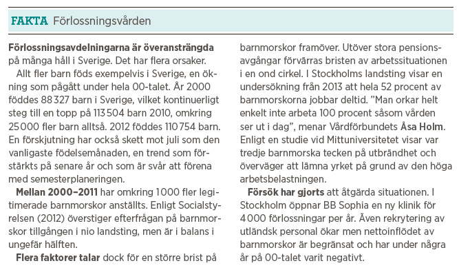 Sara Assarsson Nya mirakler varje dag förlossningsvården Malmö BB barnmorskor Neo nr 1 2014 fakta