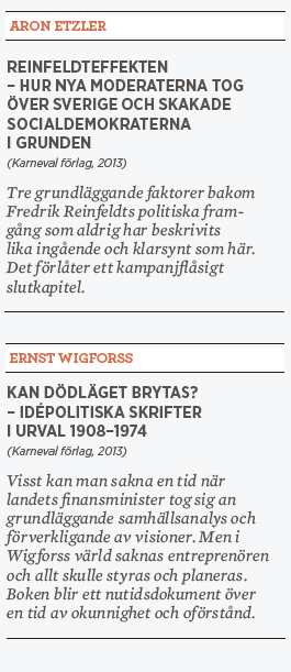 Patrik Strömer recension Aron Etzler Reinfeldteffekten Ernst Wigforss  Kan dödläget brytas Nya moderaterna Fredrik Reinfeldt ideologi Neo nr 1 2014 kort