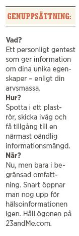 Joakim Jardenberg Neo testa gentest 23andme Neo nr 1 2014 vad