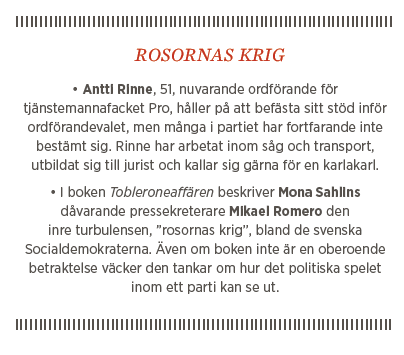 Sylvia Bjon krönika Neo nr 2 2014 Jutta Urpilainen Antti Rinne Mona Sahlin socialdemokraterna starka kvinnor Rosornas krig