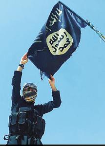 Ung man från Skärholmen reser al-Qaidas flagga. Foto: TT