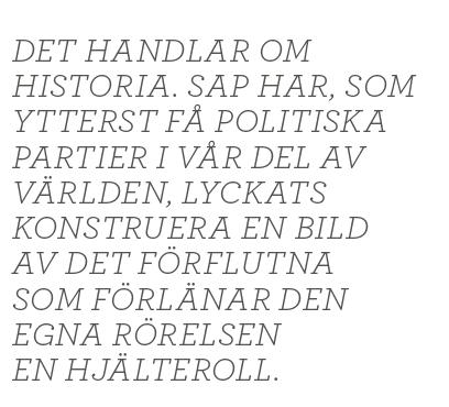 Dick Harrison nostalgin är röd Socialdemokraterna Per Albin Hansson Tage Erlander Olof Palme Gunnar Sträng Ingvar Carlsson IKEA midsommar Partiet Neo nr 5 2014 citat