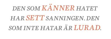 Fredrik Johansson Hatet och sanningen  Athena Farrokhzad  Sommar P1 Lenin Ebba Grön Neo nr 5 2014 citat