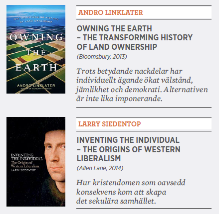 Mattias Svensson recension Andro Linklater Owning the earth Larry Siedentop Inventing the individual ägande individ Richard Overton Neo nr 6 2014