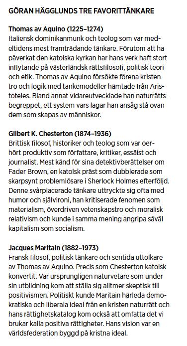 Göran Hägglund intervju Chesterton Aquino Maritain fettskatt verklighetens folk kriminalpolitik familj pappamånader alkohol Neo nr 3 2010 tänkare