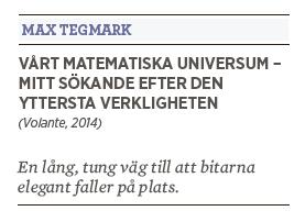 Patrik Strömer recension Max Tegmark Vårt matematiska universum – mitt sökande efter den  yttersta verkligheten Volante 2014 Neo nr 2 2015
