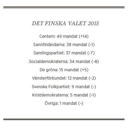 Sylvia Bjon Finland valet 2015 Sannfinländarna Centern Annie Lööf Juha Sipilä Timo Soini Neo nr 3 2015 valresultat