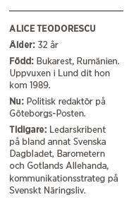 Alice Teodorescu Göteborgs Posten diplomatisk intervju liberal konservativ sommar kultursidor Neo nr 4 2015 Fakta