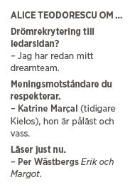 Alice Teodorescu Göteborgs Posten diplomatisk intervju liberal konservativ sommar kultursidor Neo nr 4 2015 tre frågor