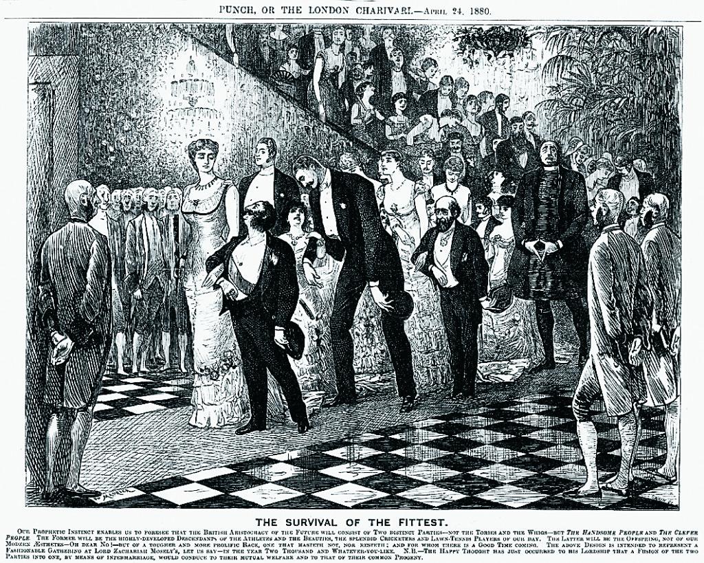 En karikatyr av Herbert Spencers idéer som de kommit att tolkas. De vackra respektive de begåvade inom aristokratin äktar varandra till ömsesidig nytta. Från Punch 24 April 1880.
