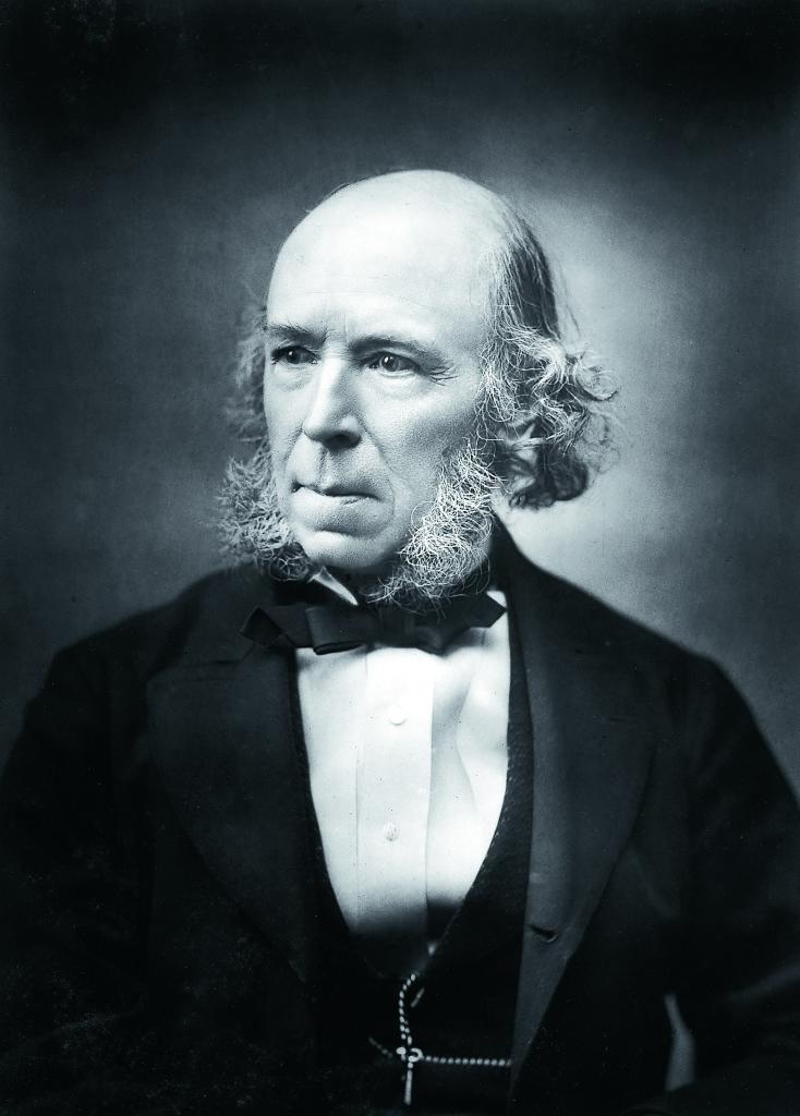 De kontinuerliga framsteg evolutionen medförde skulle enligt Herbert Spencer till slut leda till att aggressiviteten ersattes av osjälviskhet och medkänsla.  Foto: The Print Collector / Heritage-Images / TT